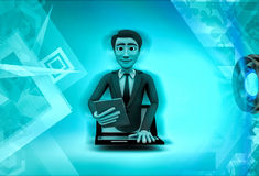 3d character popping out of laptop screen illustration Stock Photo
