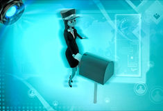 3d character post mail in postbox illustration Stock Photography