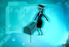 3d character post mail in postbox illustration Stock Images
