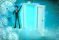 3d character present open door for welcoming illustration Stock Photo
