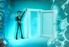 3d character present open door for welcoming illustration Stock Photography