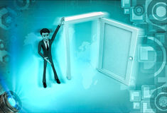 3d character present open door for welcoming illustration Royalty Free Stock Photography