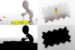 3d character push puzzle piece concept collections with alpha and shadow channel Royalty Free Stock Image