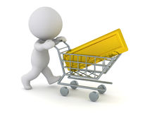 3D Character Pushing Shopping Cart with Large Gold Bar Stock Image