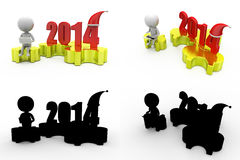 3d character 2014 puzzle concept collections with alpha and shadow channel Royalty Free Stock Photo