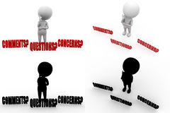 3d character question comment concept collections with alpha and shadow channel Royalty Free Stock Photo