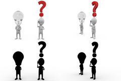 3d character question mark and bulb concept collections with alpha and shadow channel Royalty Free Stock Photos