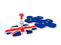 3D Character Questioning Puzzle Piece with British Flag and Euro. 3D character with a question symbol standing on a British flag puzzle piece, next to a EU Stock Photos