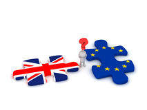3D Character Questioning Puzzle Pieces with British Flag and Eur Stock Photo