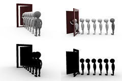 3d character queue door concept collections with alpha and shadow channel Stock Photo
