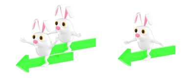 3d character , rabbit characters sitting on different arrows which lead towards one directions vector illustration