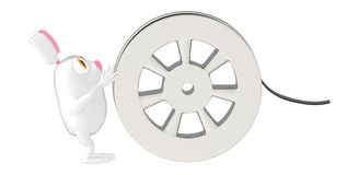 3d character , rabbit and film reel. 3d rendering vector illustration