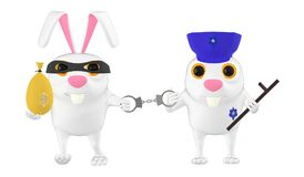 3d character , rabbit police officer , cop and the culprit , theif. 3d rendering royalty free illustration