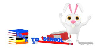 3d character , rabbit rasing hands- school bag- books -pencil -rubber -notepad on the floor , back to school concept stock illustration