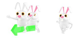 3d character , rabbits following another rabbit on arrow who is leading royalty free illustration