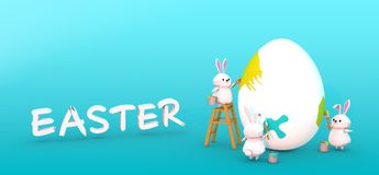 3D character rabbits are painting Easter egg.  Web banner, Greeting card. Illustration Royalty Free Stock Photo