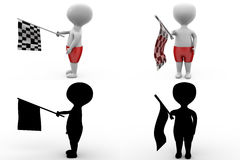 3d character race flag concept collections with alpha and shadow channel Stock Photo