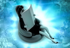 3d character read book while on chair illustration Stock Images