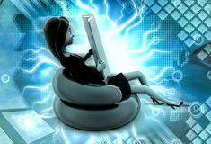 3d character read book while on chair illustration Stock Photo