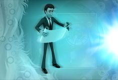 3d character read scroll illustration Stock Photos
