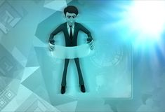 3d character read scroll illustration Royalty Free Stock Photography