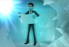 3d character read scroll illustration Royalty Free Stock Photos