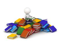 3D Character reading book sitting on pile of books. 3D character sitting on a pile of books and reading a book Stock Image