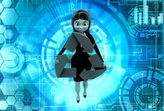 3d character recycle illustration Royalty Free Stock Image
