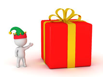 3D Character with Red Gift Box Royalty Free Stock Photo