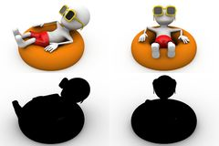3d character relaxing in a pool concept collections with alpha and shadow channel Royalty Free Stock Image
