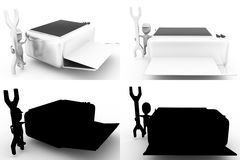 3d character repair printer concept collections with alpha and shadow channel Stock Photo
