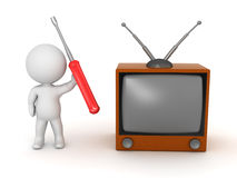3D Character with Retro TV and Screwdriver Royalty Free Stock Photo