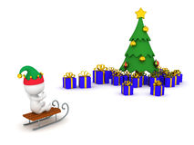 3D Character Riding Sled Toward Christmas Tree with Gifts Stock Image
