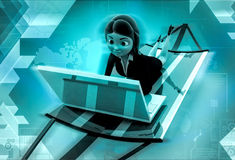 3d character rking on laptop during holidays illustration Royalty Free Stock Photo