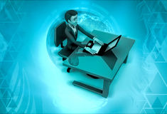 3d character rking in office illustration Stock Photography