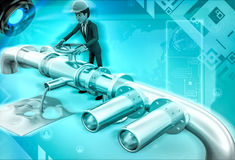 3d character rking on pipeline to tightening valve illustration Stock Photos