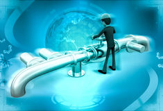3d character rking on pipeline to tightening valve illustration Royalty Free Stock Image