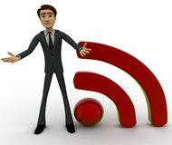 3d character with RSS feed sign concept Stock Photo