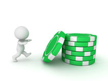 3D Character Runnig Toward Stack of Poker Chips Royalty Free Stock Photos