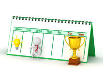 3D Character Running From Idea Toward Trophy. A 3D character had an idea and is running toward a golden trophy. Week calendar in background.  on white Stock Image