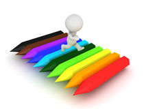 3D Character running on top of rainbow colored crayons Royalty Free Stock Photo