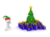 3D Character Running toward Christmas tree with Gifts. 3D character with elf hat running toward Christmas tree with wrapped gifts. Isolated on white background Royalty Free Stock Image