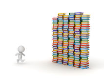 3D Character Running Toward Colorful Books Royalty Free Stock Images