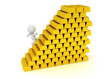 3D Character Running Up Stairs Made of Gold Bars. 3D character running up stairs made of large gold bars. Isolated on white background Stock Photos