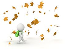 3D Character with School Bag and Autumn Leaves. 3D character with school bag walking through falling autumn leaves, isolated on white Stock Images
