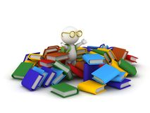 3D Character with School Bag and Books Royalty Free Stock Photography