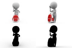 3d character with school bag concept collections with alpha and shadow channel Stock Photos