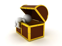 3D Character searching in a treasure chest. The chest is big with golden edges Stock Images