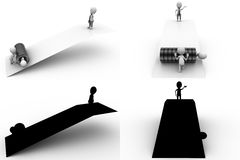 3d character seesaw tire concept collections with alpha and shadow channel Stock Photography
