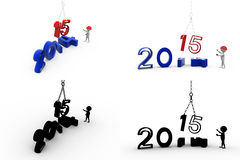 3d character shifting 2014 with 2015 concept collections with alpha and shadow channel Stock Photos